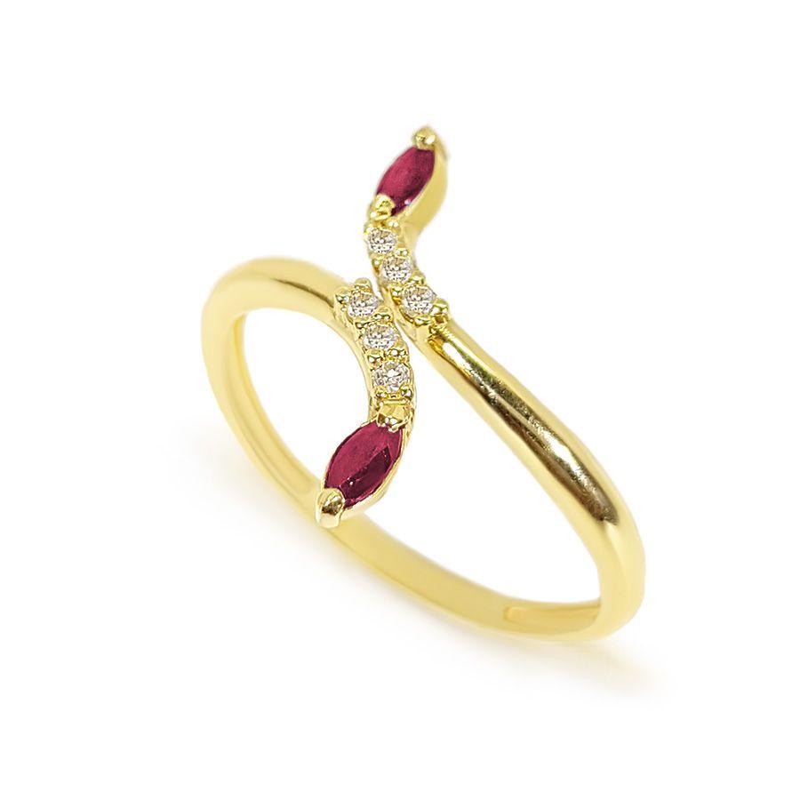 Anel Ouro 18k com Diamantes e Navete de Rubi