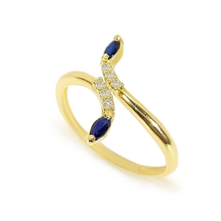 Anel Ouro 18k com Diamantes e Navete de Safira