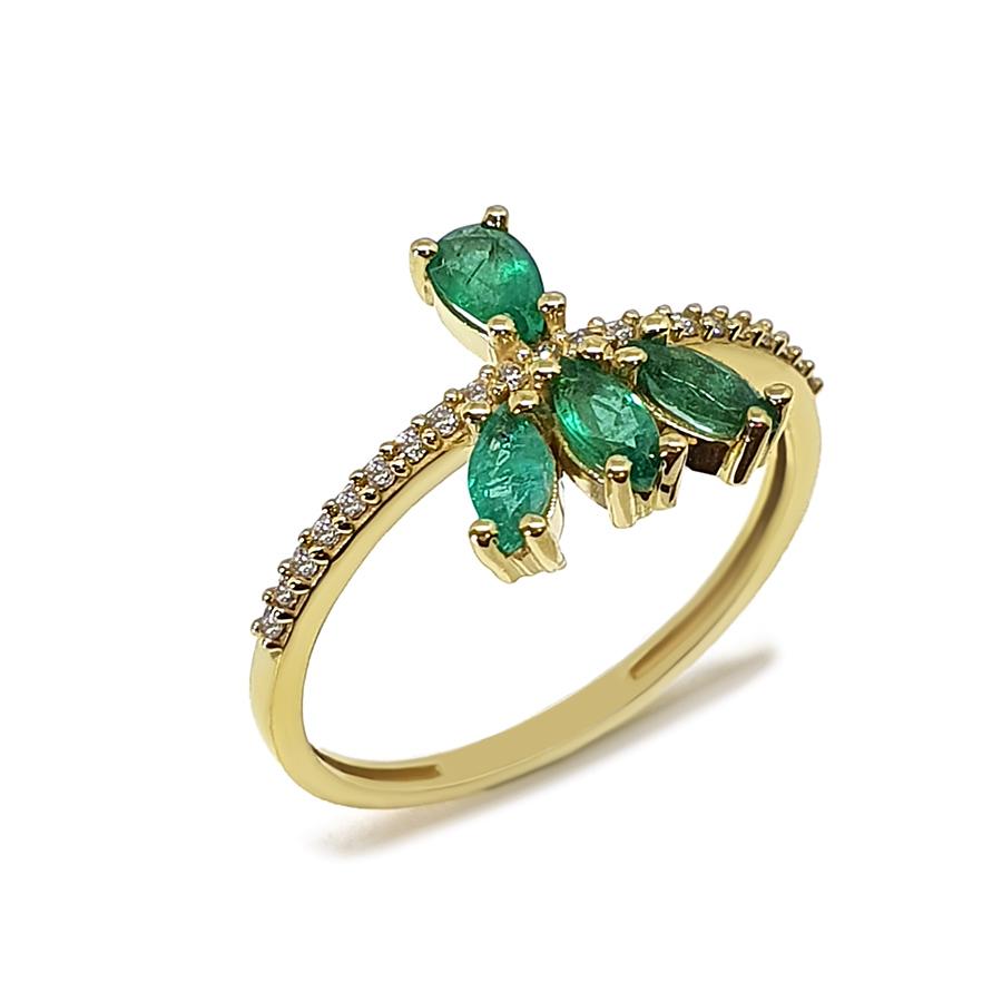 Anel Flowing Ouro 18k com Diamantes e Navetes e Gota de Esmeralda