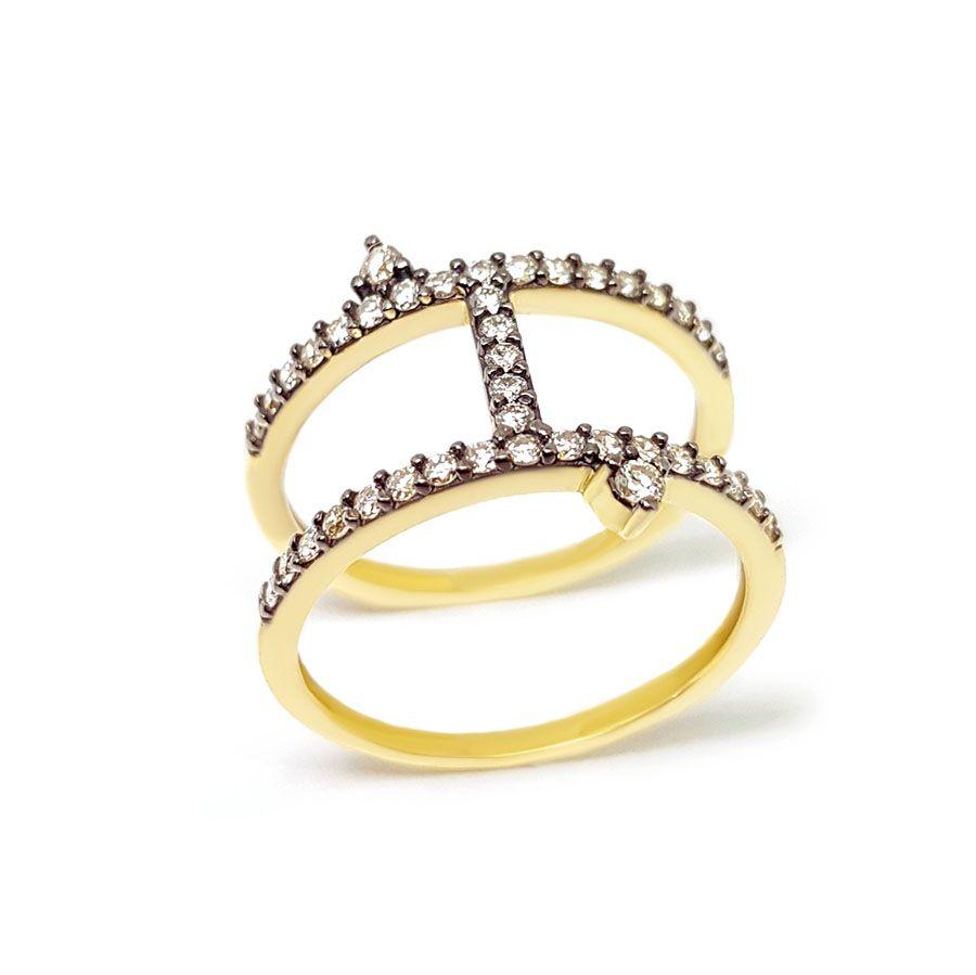 Anel Ouro 18k com Diamantes e Ródio Negro  - YVES