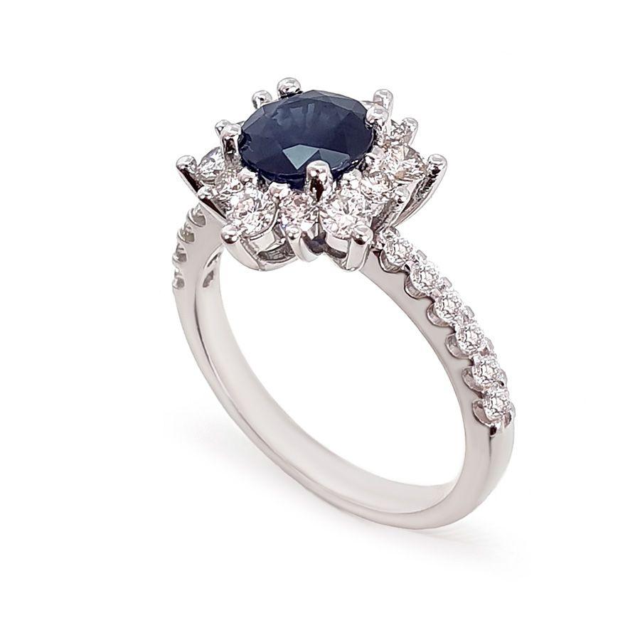Anel Ouro 18k com Diamantes e Safira de 1,3ct  - YVES