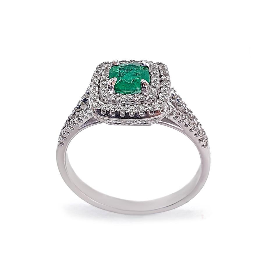 Anel Ouro 18k Com Esmeralda Cushion e Diamantes   - YVES