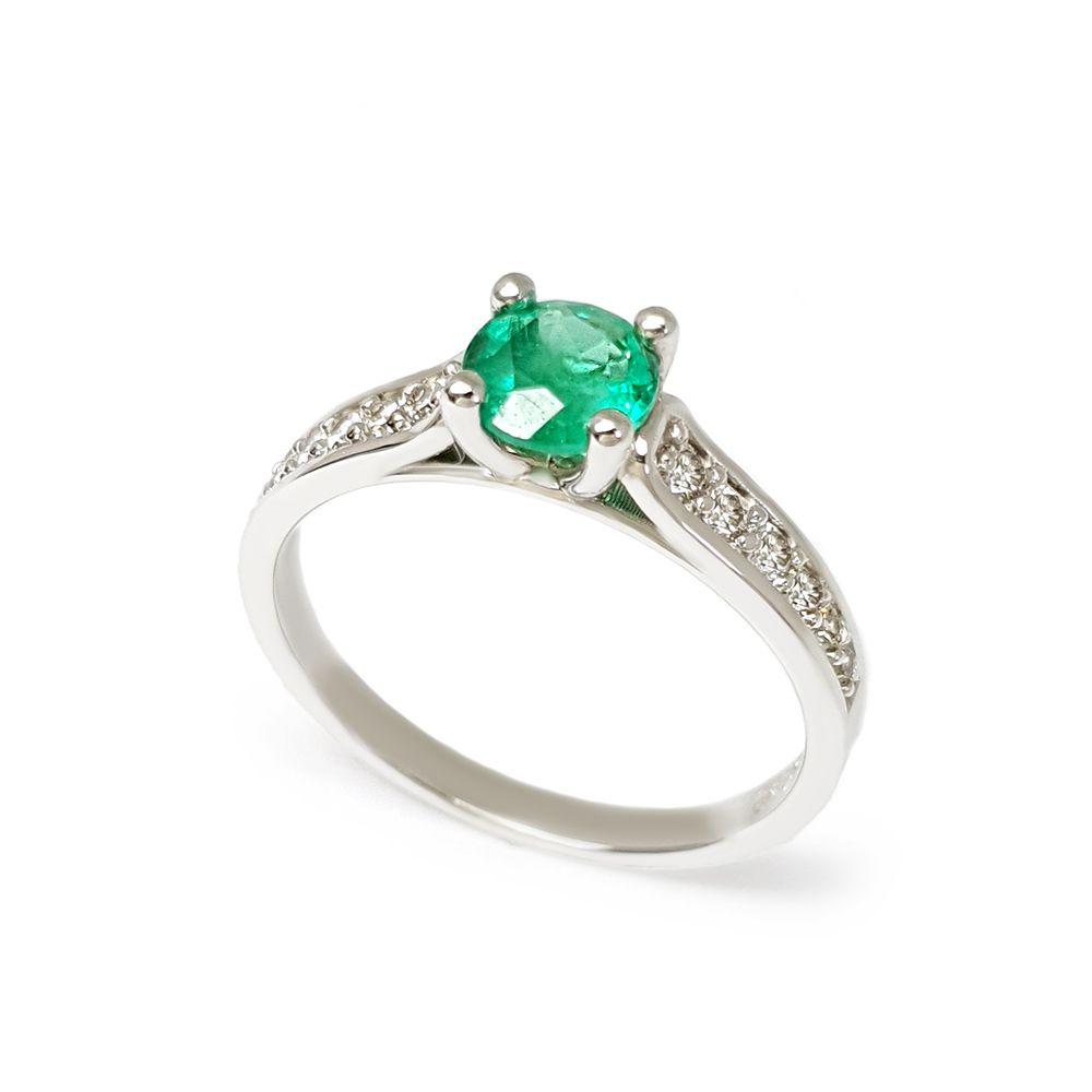 Anel Ouro 18k com Esmeralda de 65 pontos e Diamantes