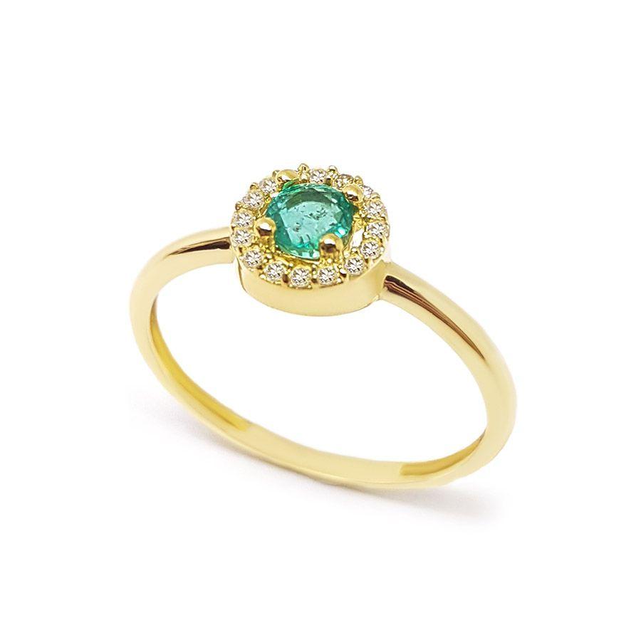 Anel Ouro 18k com Esmeralda e 16 Diamantes