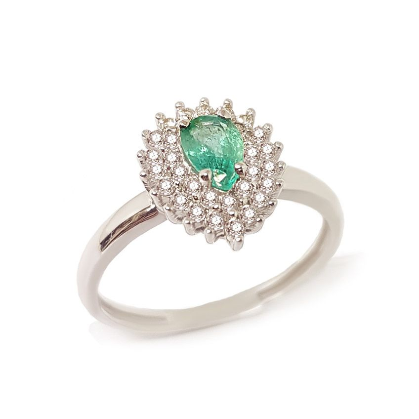 Anel Ouro 18k com Esmeralda Gota e Diamantes