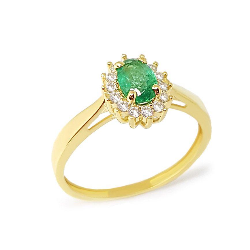 Anel Ouro 18k com Esmeralda e Diamantes