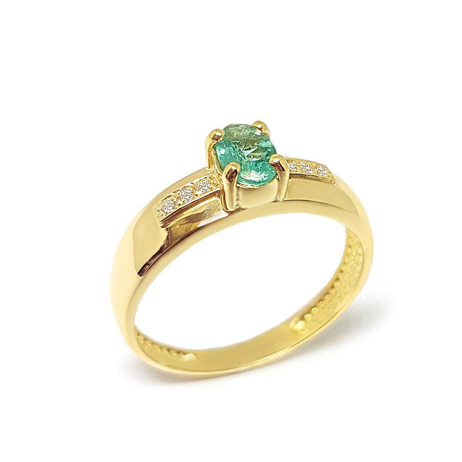 Anel Ouro 18k com Esmeralda e Diamantes   - YVES
