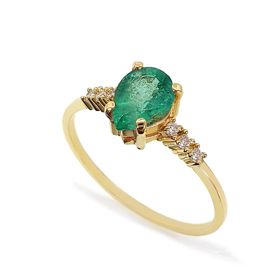 Anel Ouro 18k com Esmeralda Gota Grande e Diamantes