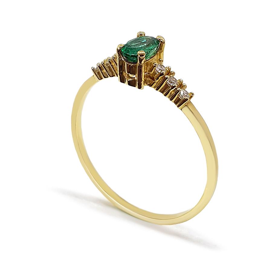 Anel Ouro 18k com Esmeralda Oval e Diamantes  - YVES