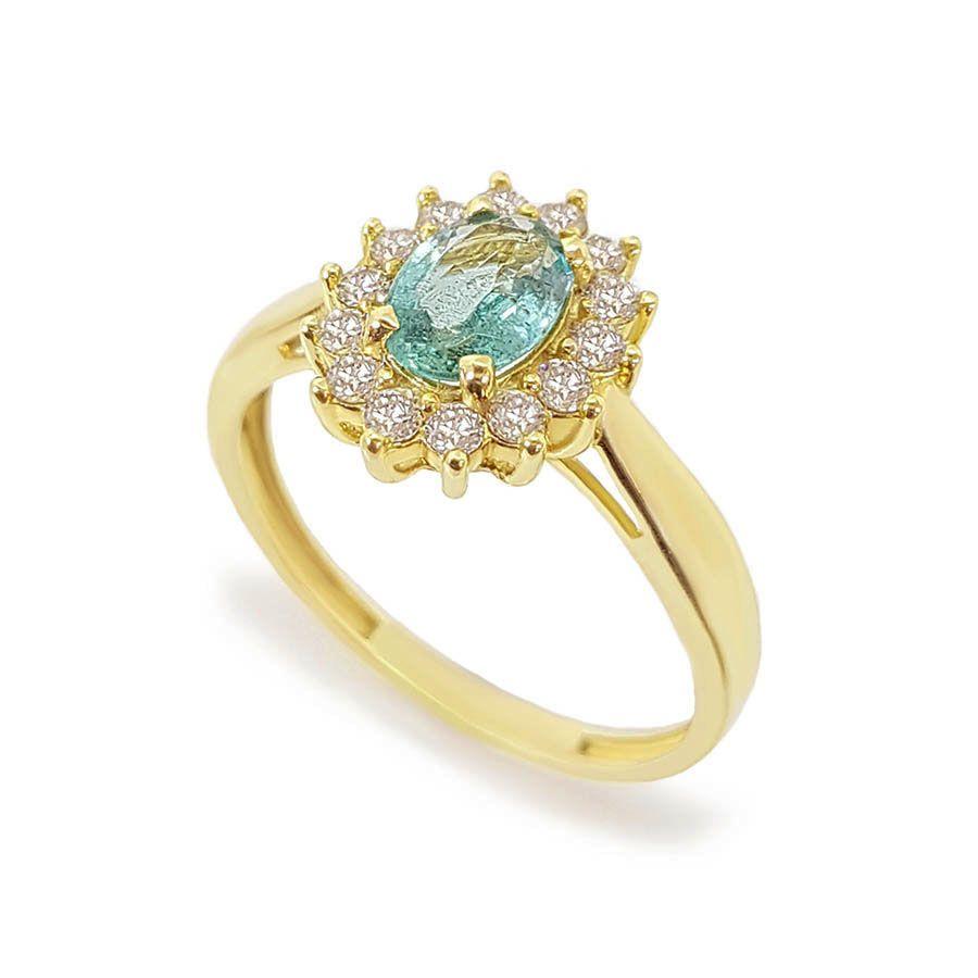 Anel Ouro 18k com Esmeralda Oval e Diamantes