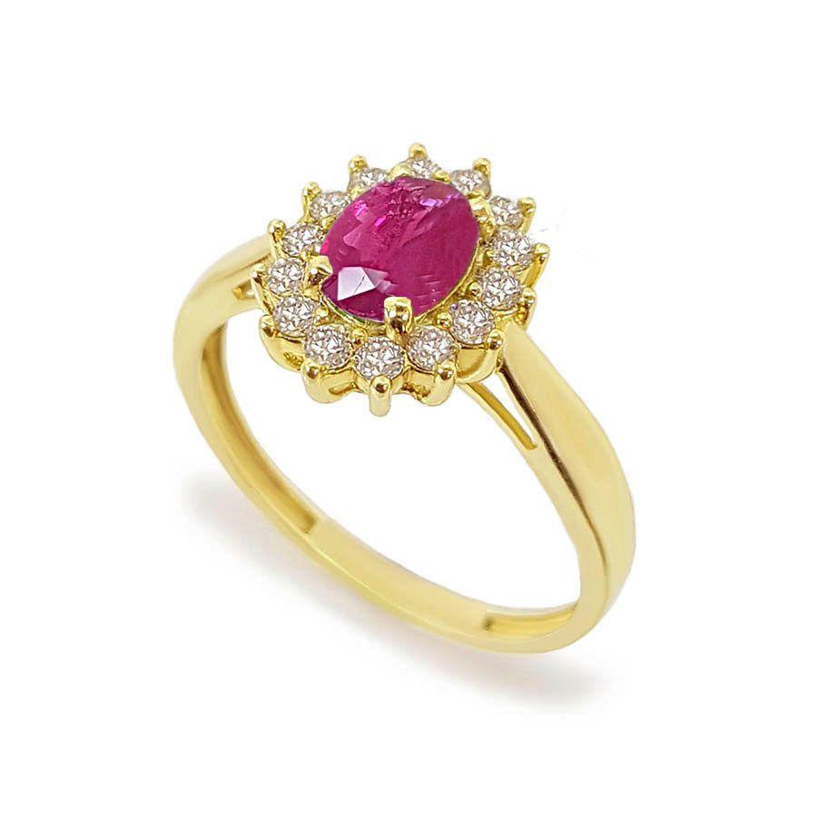 Anel Ouro 18k com Rubi Oval e Diamantes