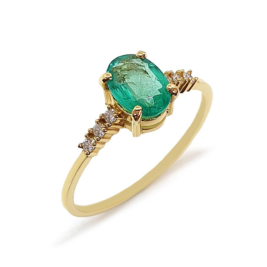 Anel Ouro 18k com Esmeralda Oval Grande e Diamantes