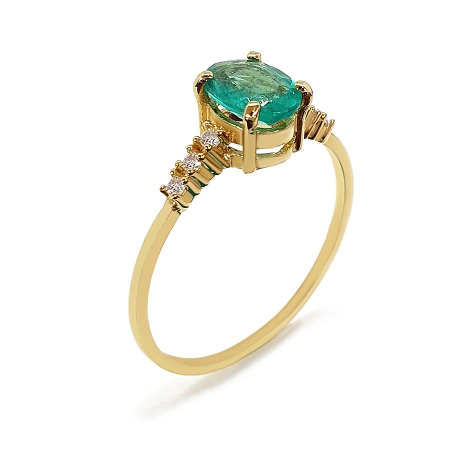 Anel Ouro 18k com Esmeralda Oval Grande e Diamantes  - YVES