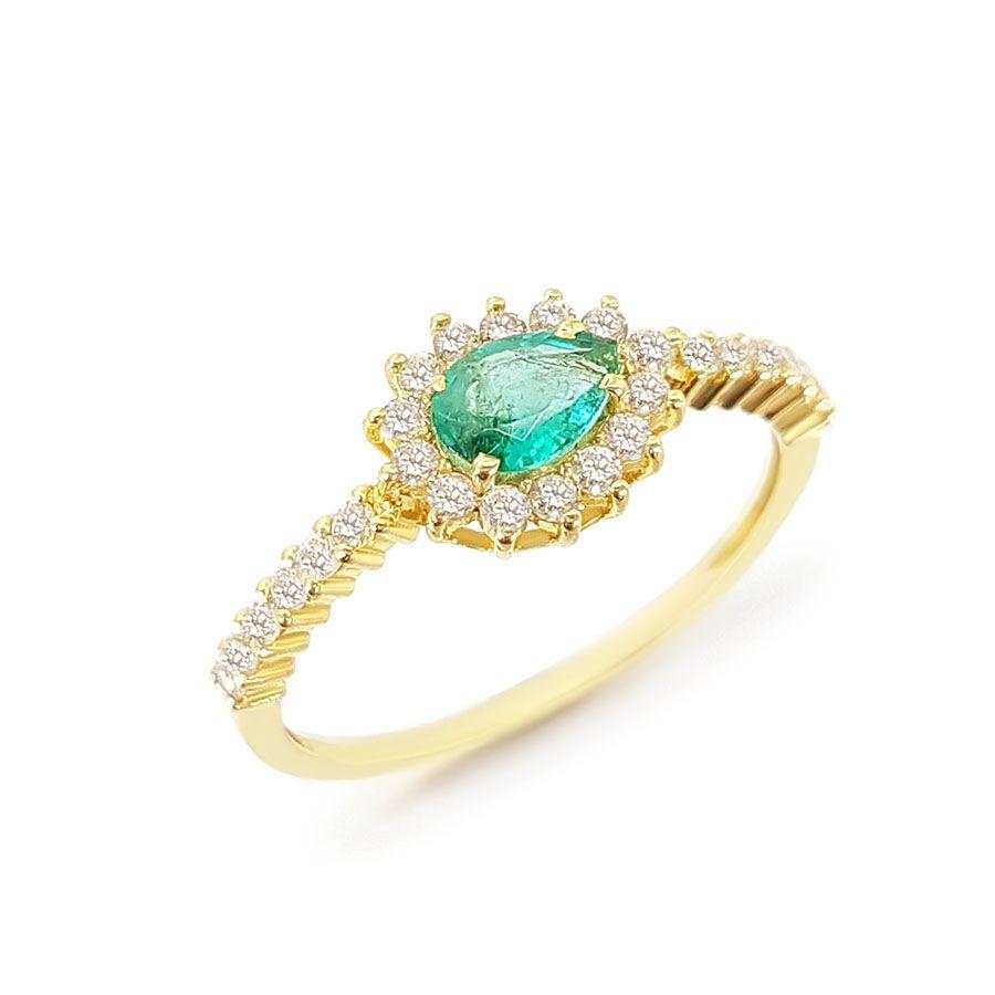Anel Ouro 18k com Gota de Esmeralda e 26 Diamantes