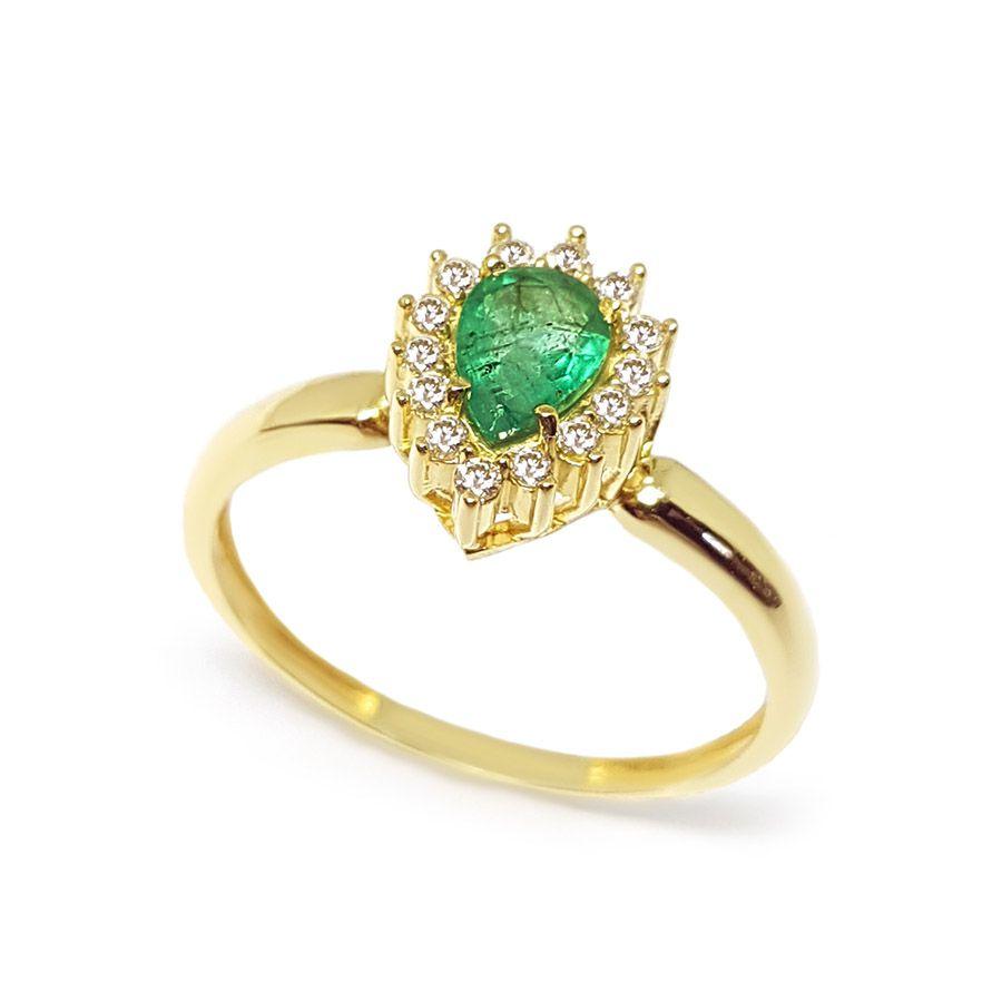 Anel Ouro 18k com Gota de Esmeralda e Diamantes