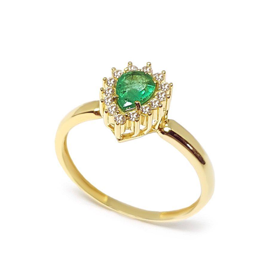 Anel Ouro 18k com Gota de Esmeralda e Diamantes   - YVES