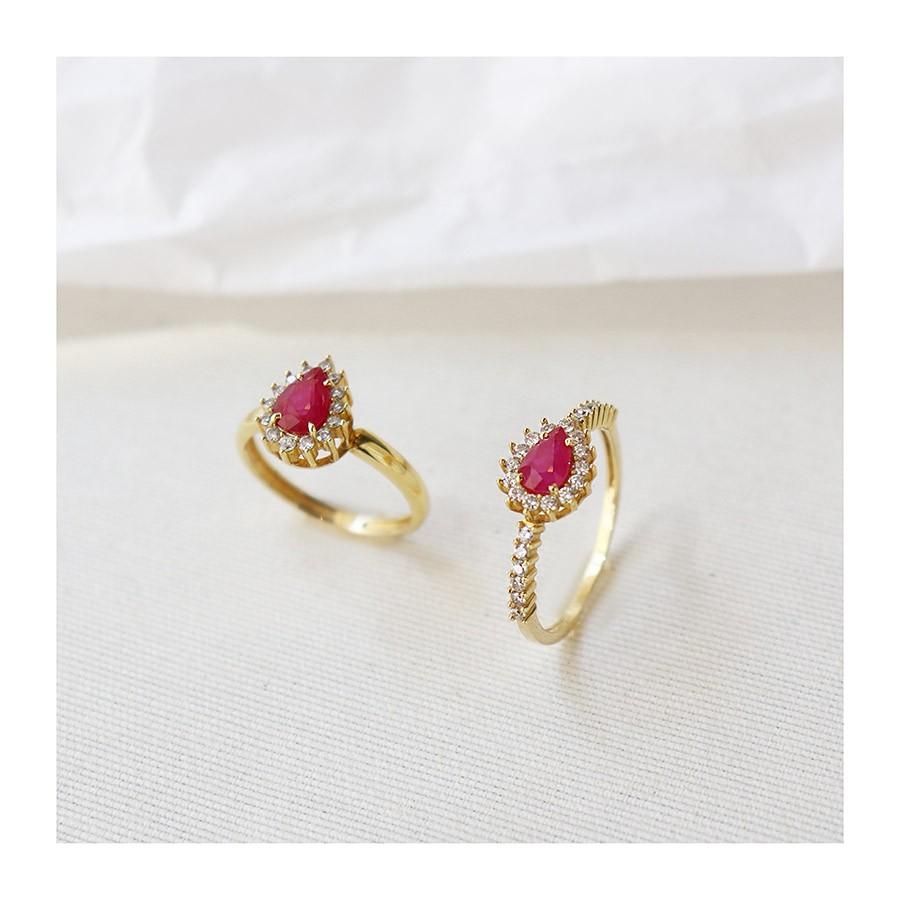 Anel Ouro 18k com Gota de Rubi e 26 Diamantes  - YVES