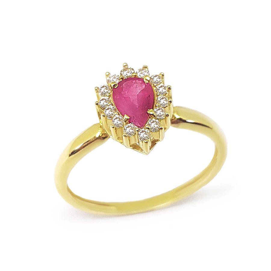Anel Ouro 18k com Gota de Rubi e Diamantes