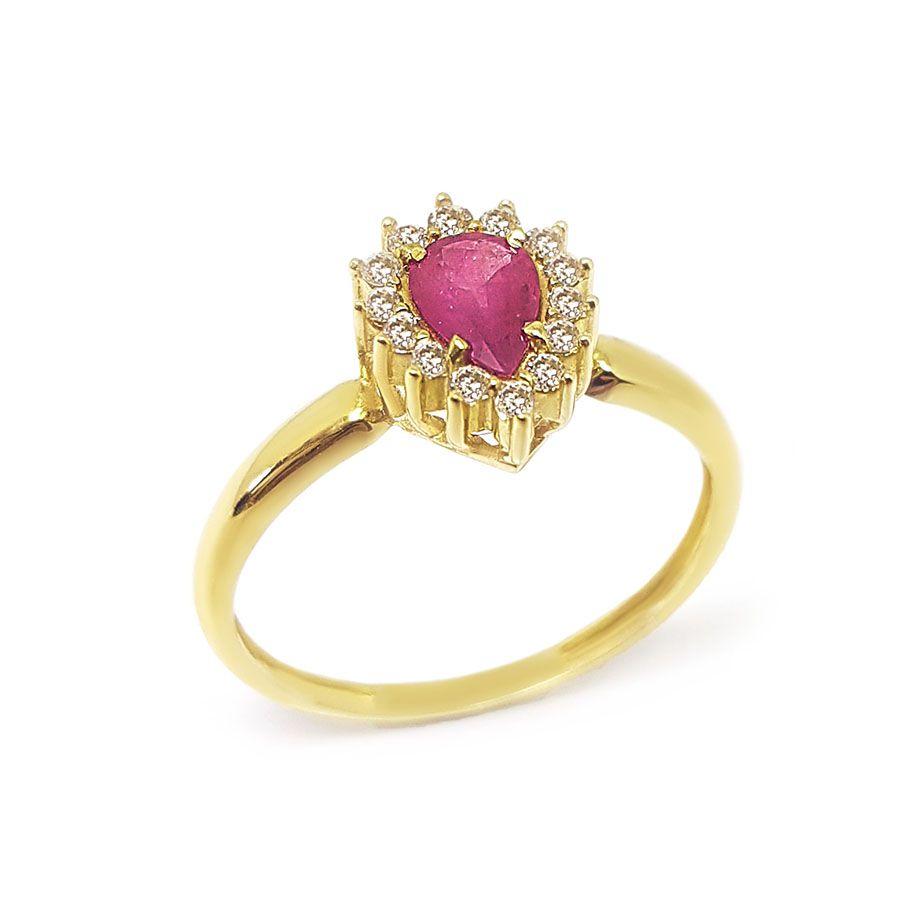 Anel Ouro 18k com Gota de Rubi e Diamantes   - YVES