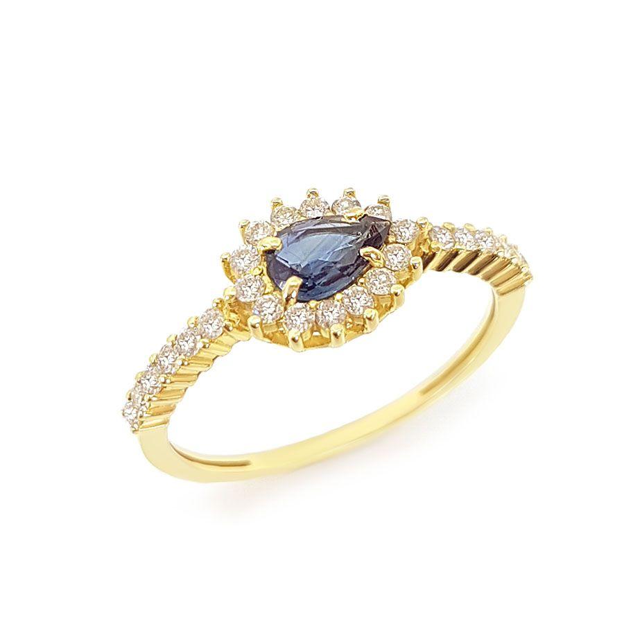Anel Ouro 18k com Gota de Safira e 26 Diamantes