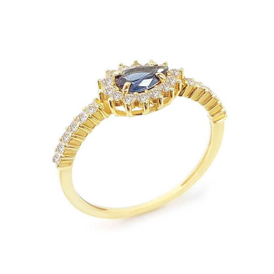 Anel Ouro 18k com Gota de Safira e 26 Diamantes  - YVES