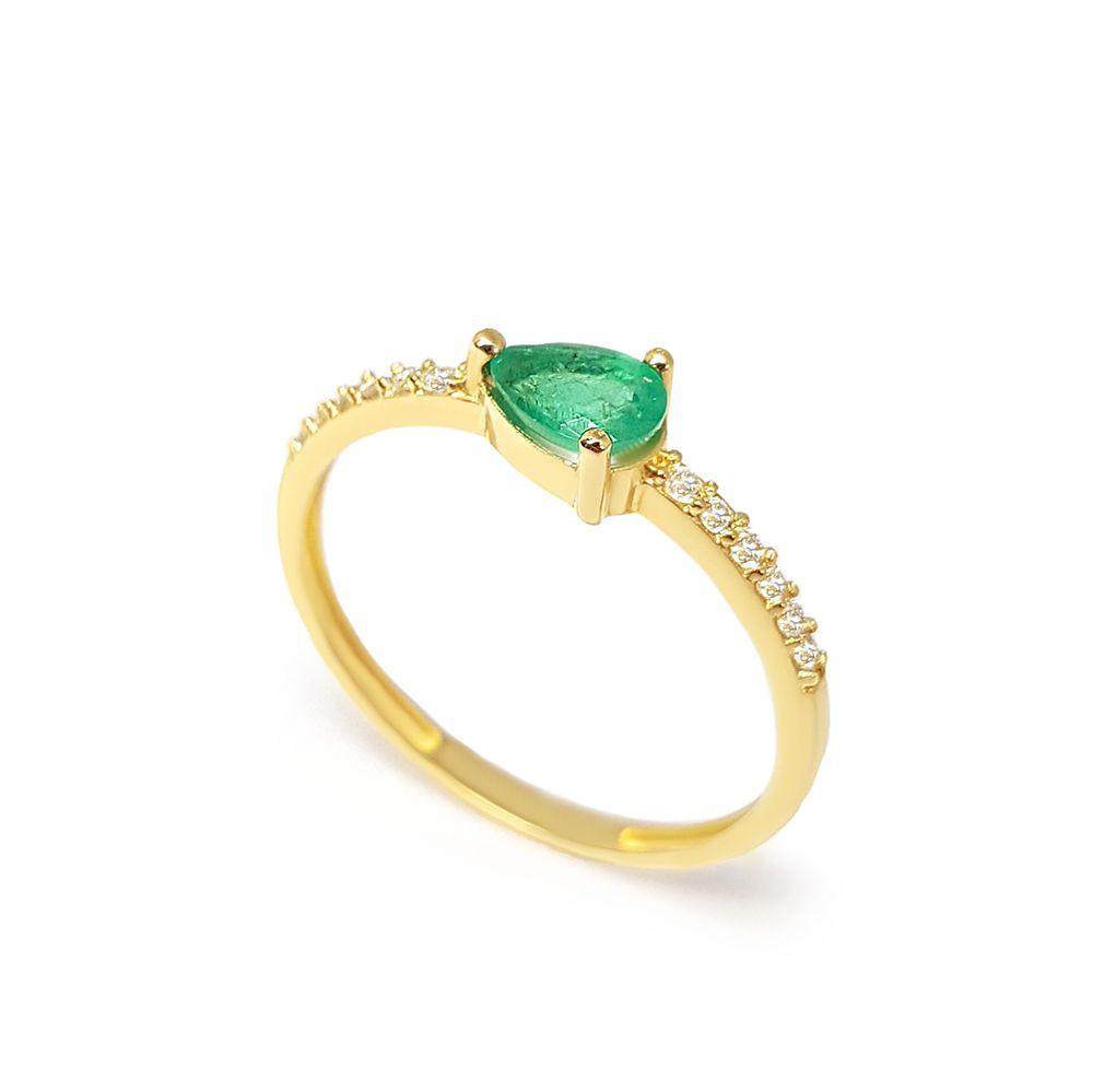Anel Purity Ouro 18k com Gota Esmeralda e Diamantes