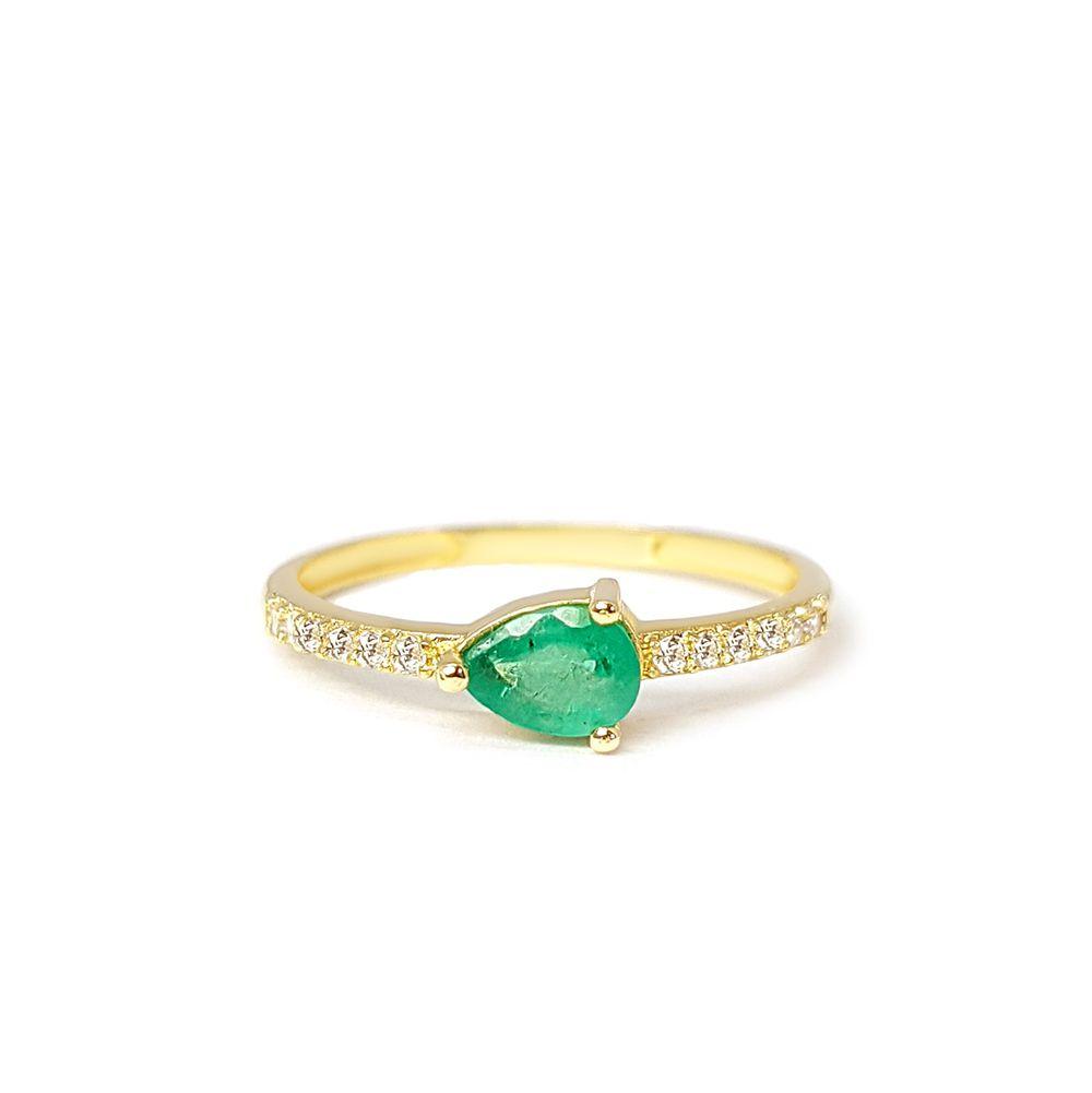 Anel Purity Ouro 18k com Gota Esmeralda e Diamantes   - YVES