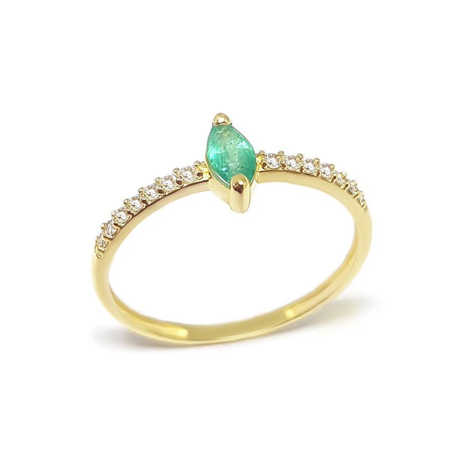 Anel Ouro 18k com Navete de Esmeralda e Diamantes