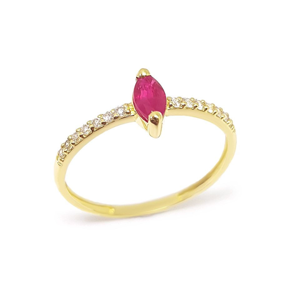 Anel Purity Ouro 18k com Navete de Rubi e Diamantes