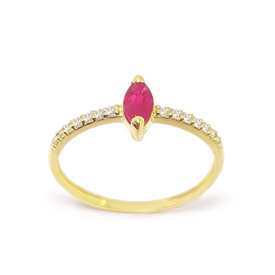 Anel Purity Ouro 18k com Navete de Rubi e Diamantes   - YVES