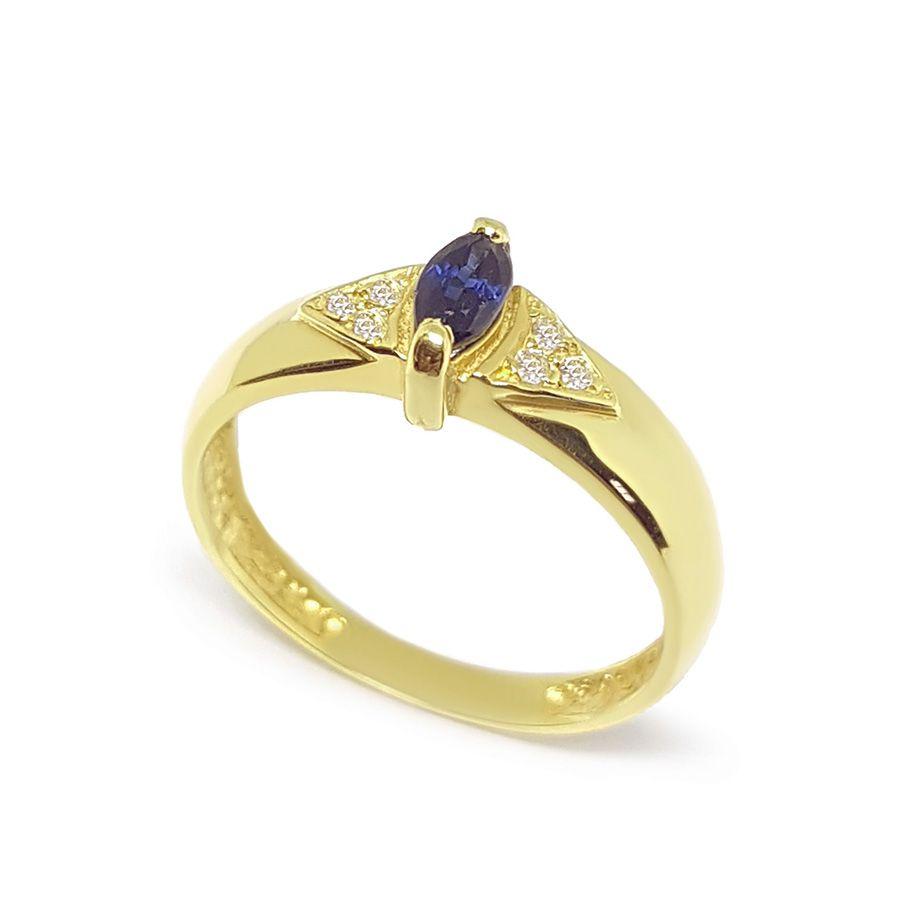Anel Ouro 18k com Navete de Safira e Diamantes