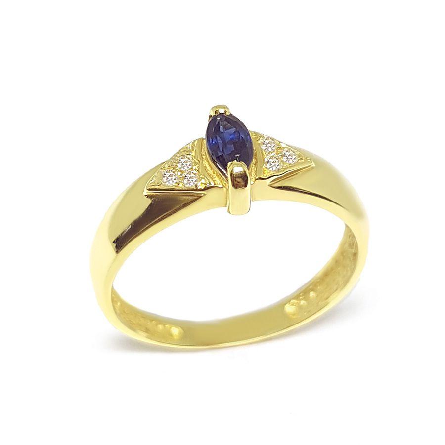 Anel Ouro 18k com Navete de Safira e Diamantes   - YVES