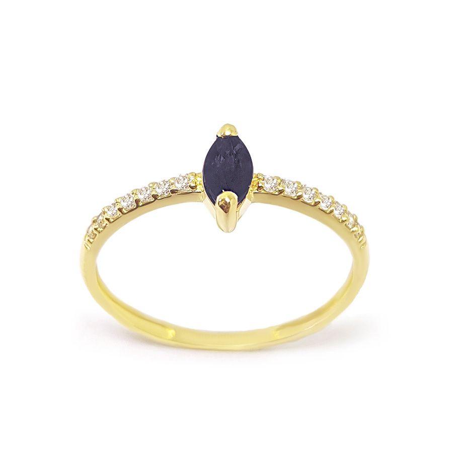 Anel Purity Ouro 18k com Navete de Safira e Diamantes   - YVES
