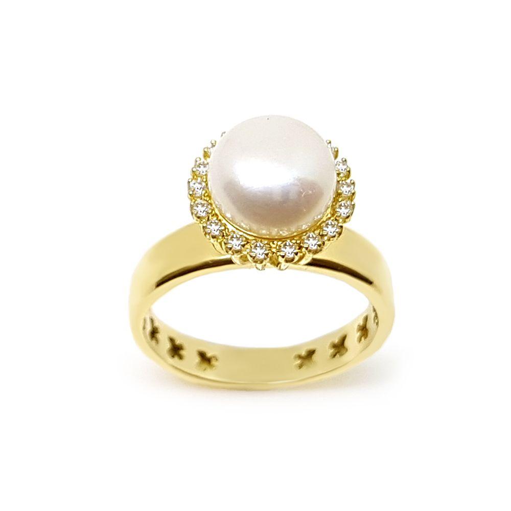 Anel Ouro 18k com Perola e 18 Diamantes