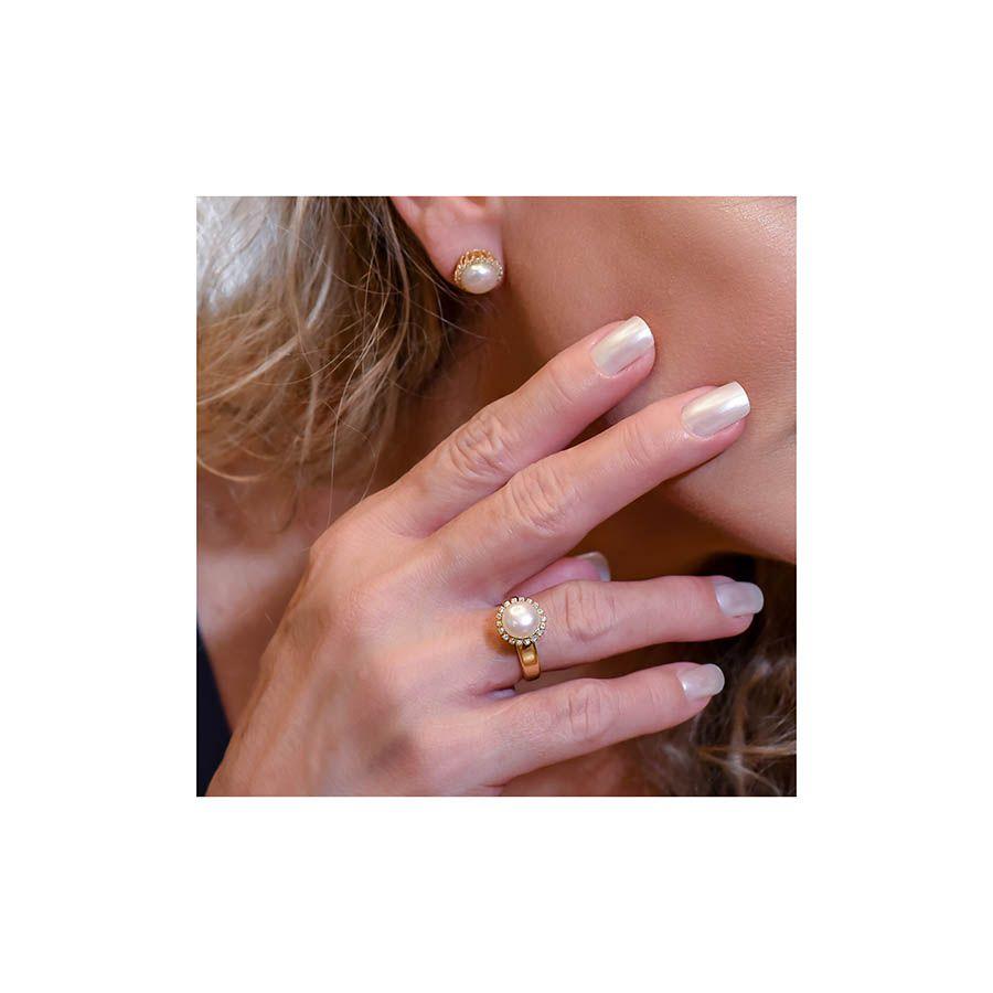 Anel Ouro 18k com Perola e 18 Diamantes   - YVES