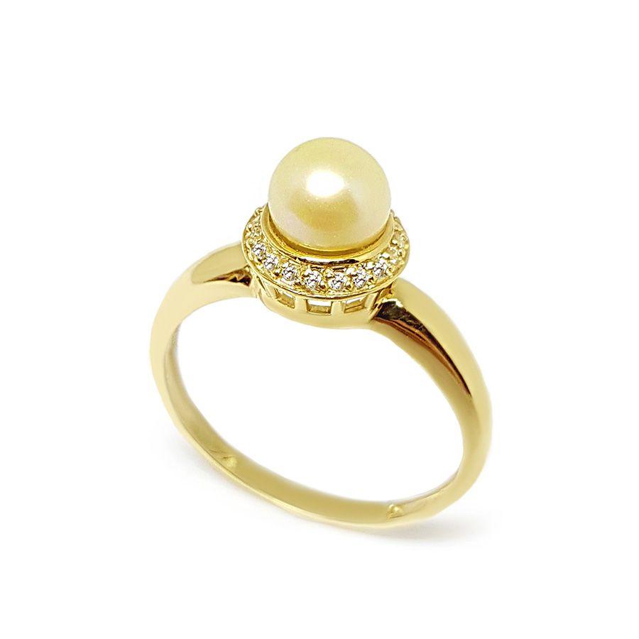 Anel Ouro 18k com Perola e 19 Diamantes
