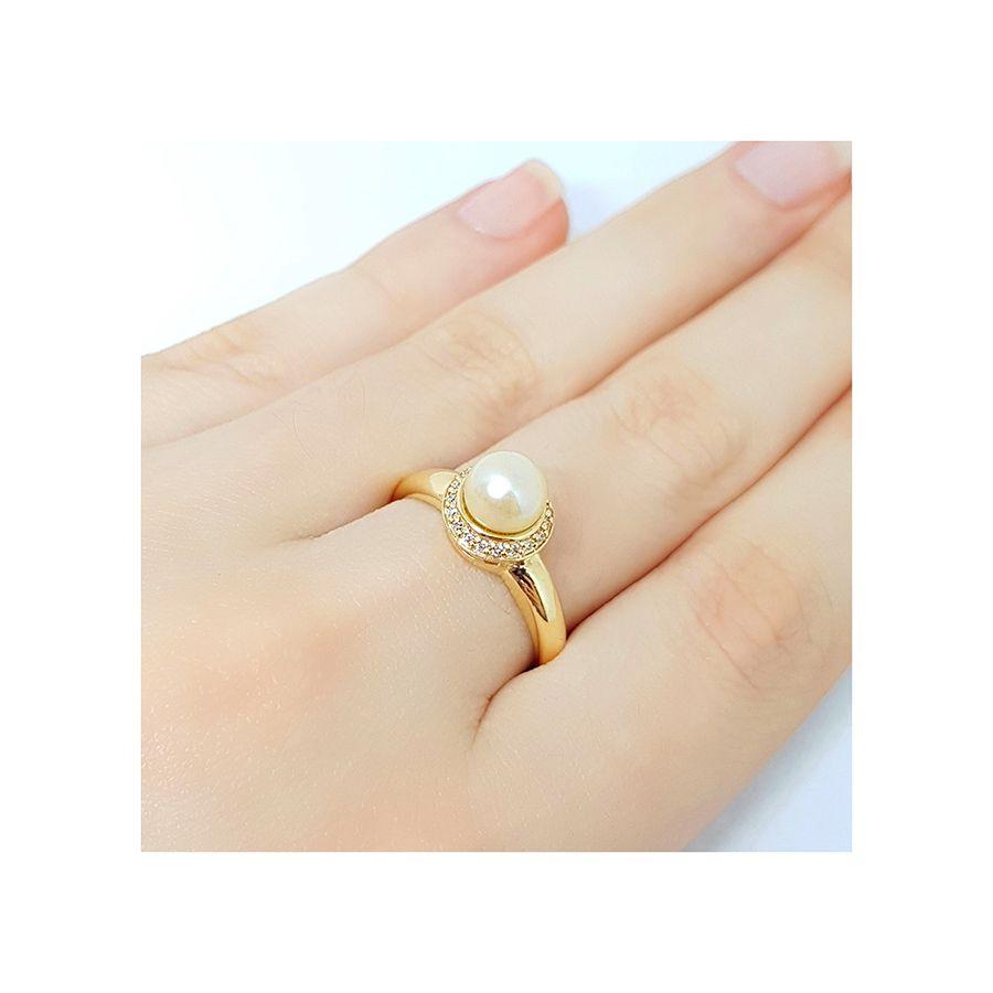 Anel Ouro 18k com Perola e 19 Diamantes   - YVES