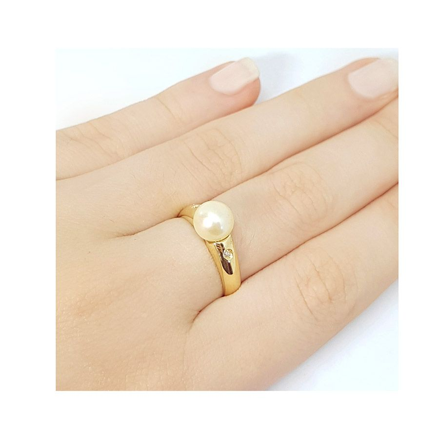 Anel Ouro 18k com Perola e 2 Diamantes  - YVES