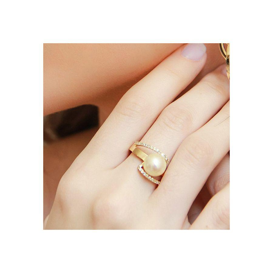 Anel Ouro 18k com Perola e 34 Diamantes  - YVES