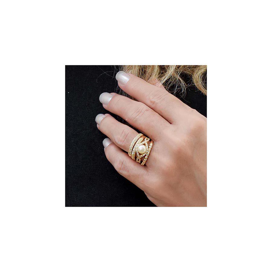 Anel Ouro 18k com Perola e 36 Diamantes  - YVES
