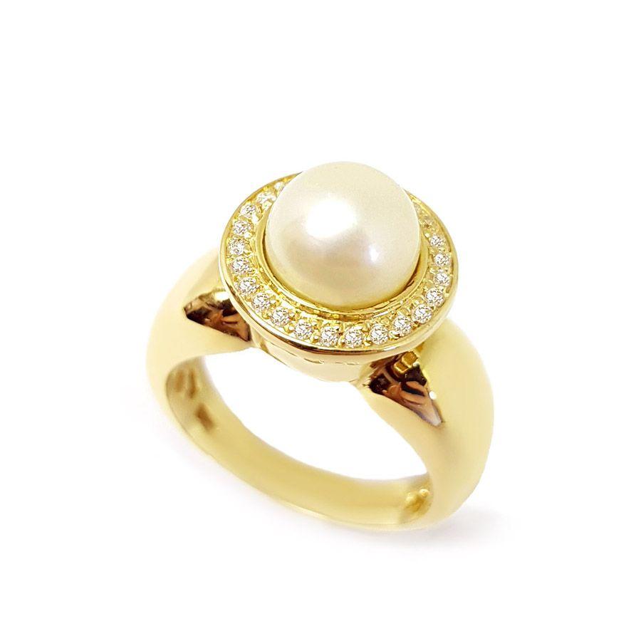 Anel Ouro 18k com Perola e 52 Diamantes   - YVES
