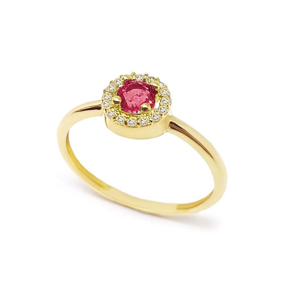 Anel Ouro 18k com Rubi e 16 Diamantes