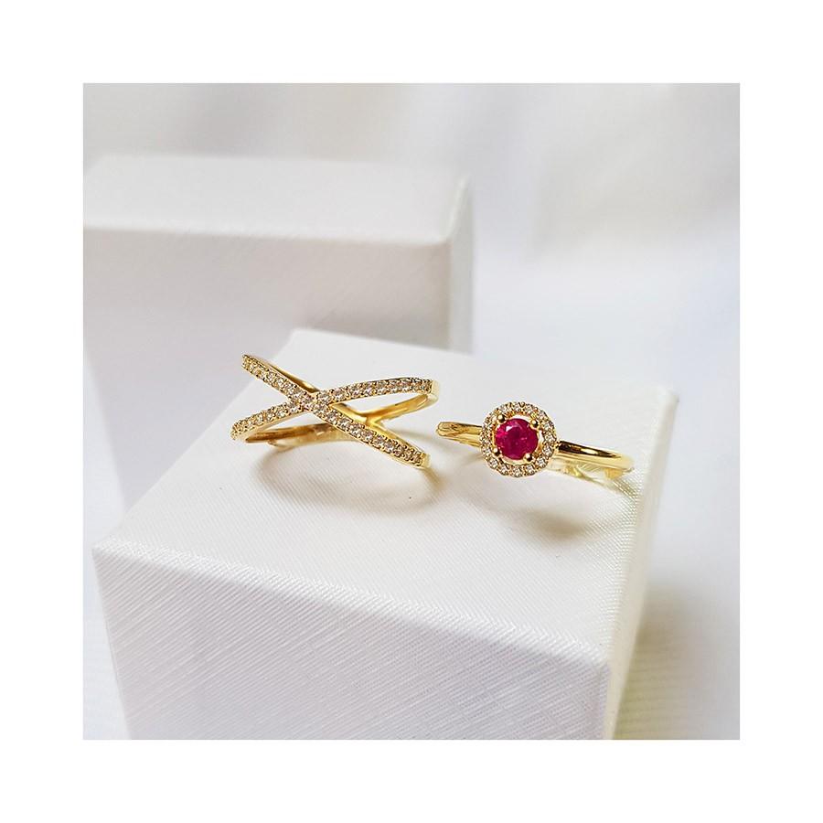 Anel Ouro 18k com Rubi e 16 Diamantes  - YVES