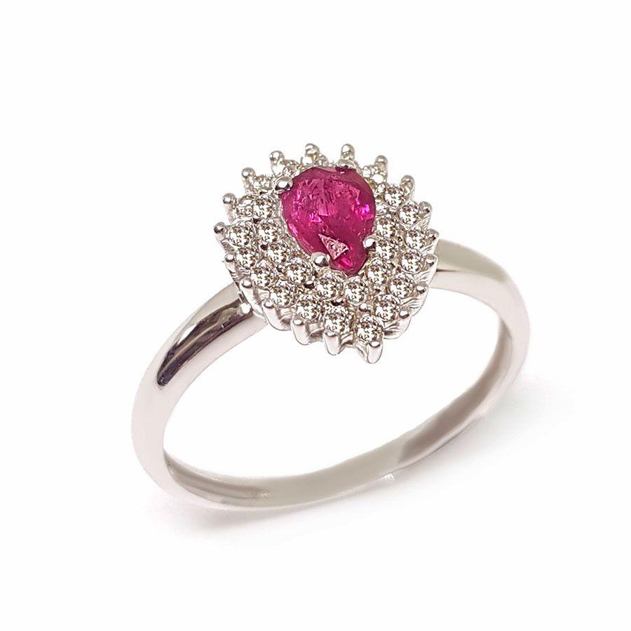 Anel Ouro 18k com Rubi e Diamantes