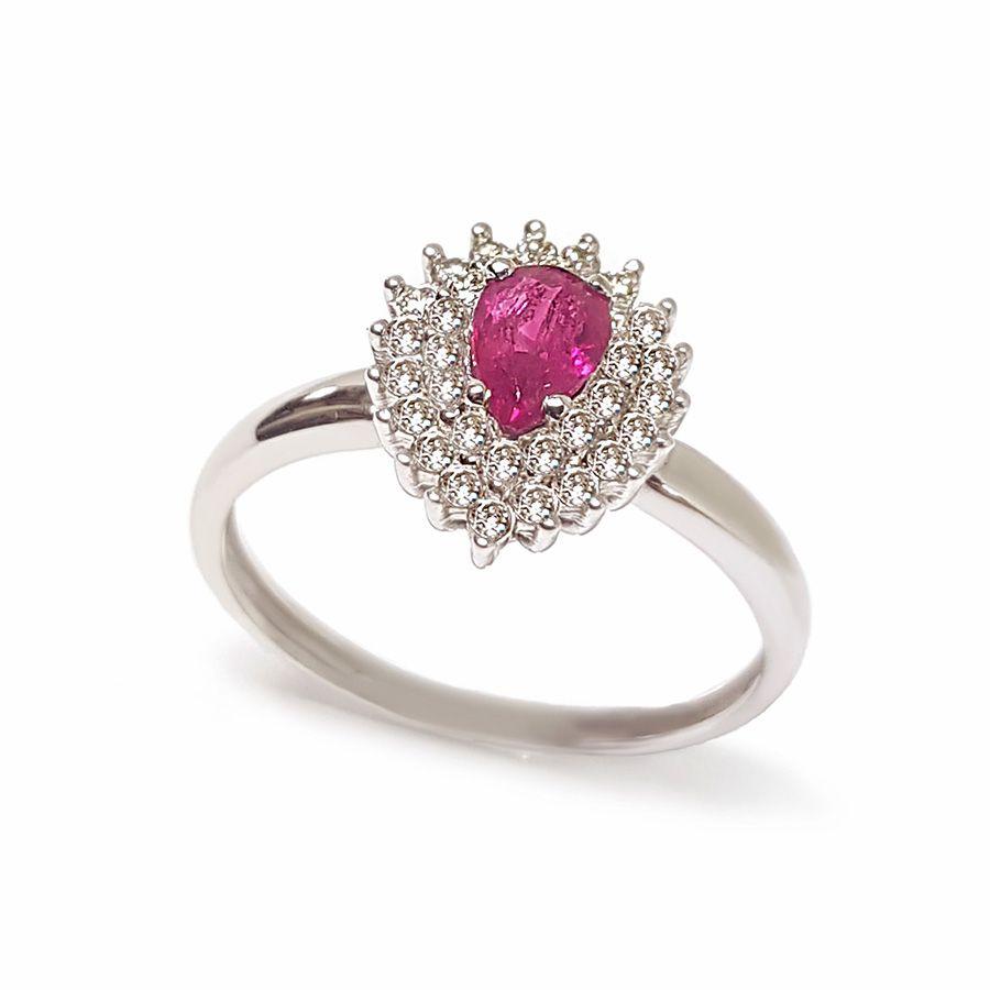 Anel Ouro 18k com Rubi e Diamantes   - YVES
