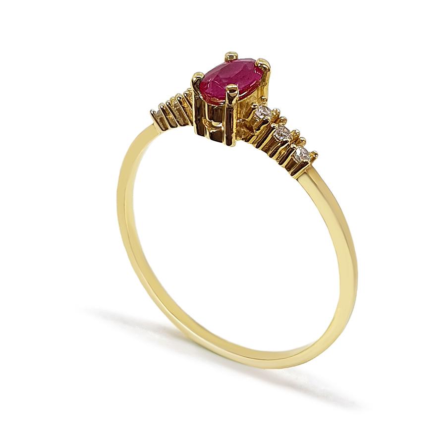 Anel Ouro 18k com Rubi Oval e Diamantes  - YVES