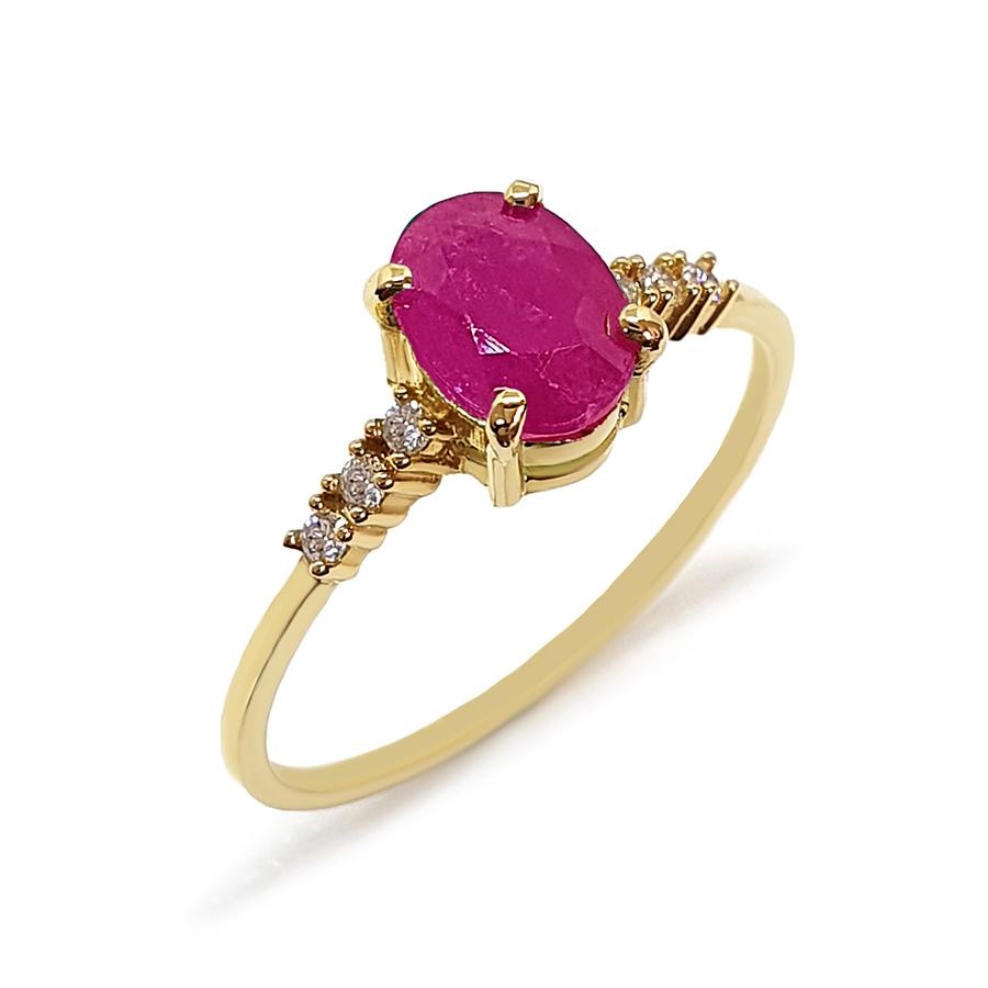 Anel Ouro 18k com Rubi Oval Grande e Diamantes