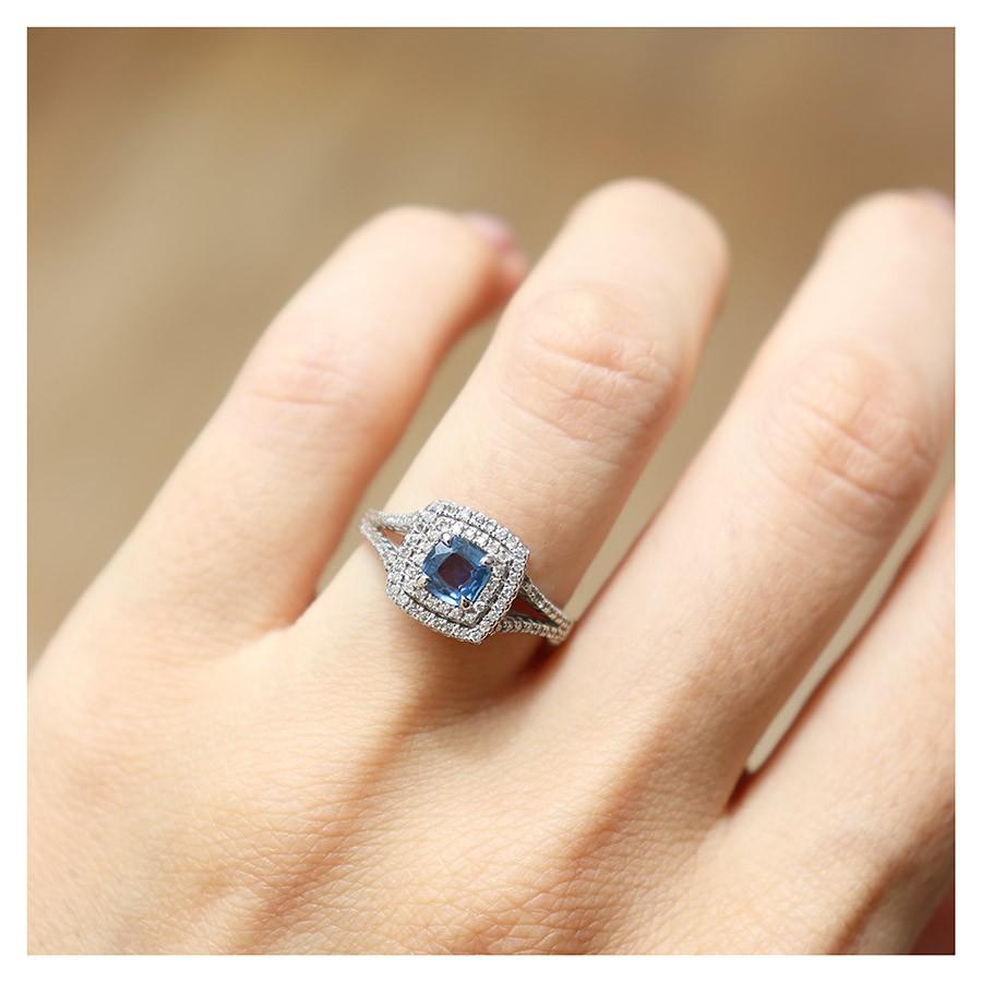 Anel Ouro 18k Com Safira Cushion e Diamantes   - YVES