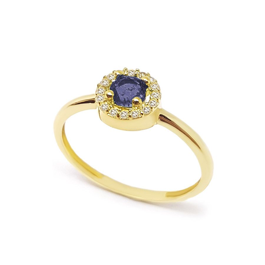Anel Ouro 18k com Safira e 16 Diamantes