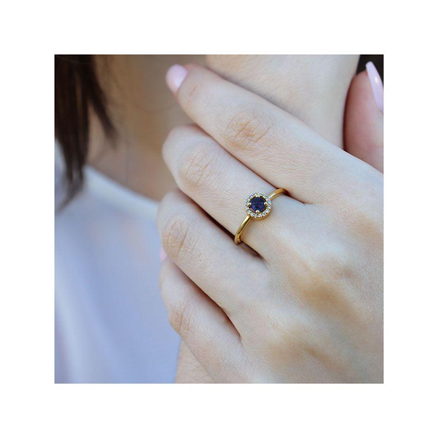 Anel Ouro 18k com Safira e 16 Diamantes  - YVES